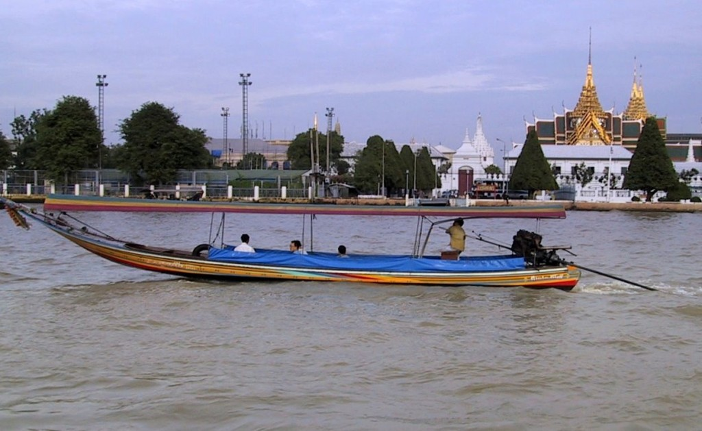 A long tail boat. This one is in Bangkok, and much nicer than our liberty boats in Pattaya Beach in 1981.