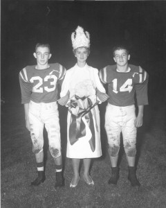 Jim Gamble and Jim Jewell, LJHS co-captains with Homecoming Queen, Jennifer Brewington, 1957