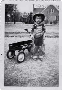 Jim Jewell, outside of the Jewell residence on Castle Heights Avenue, Lebanon, Tennessee, 1948