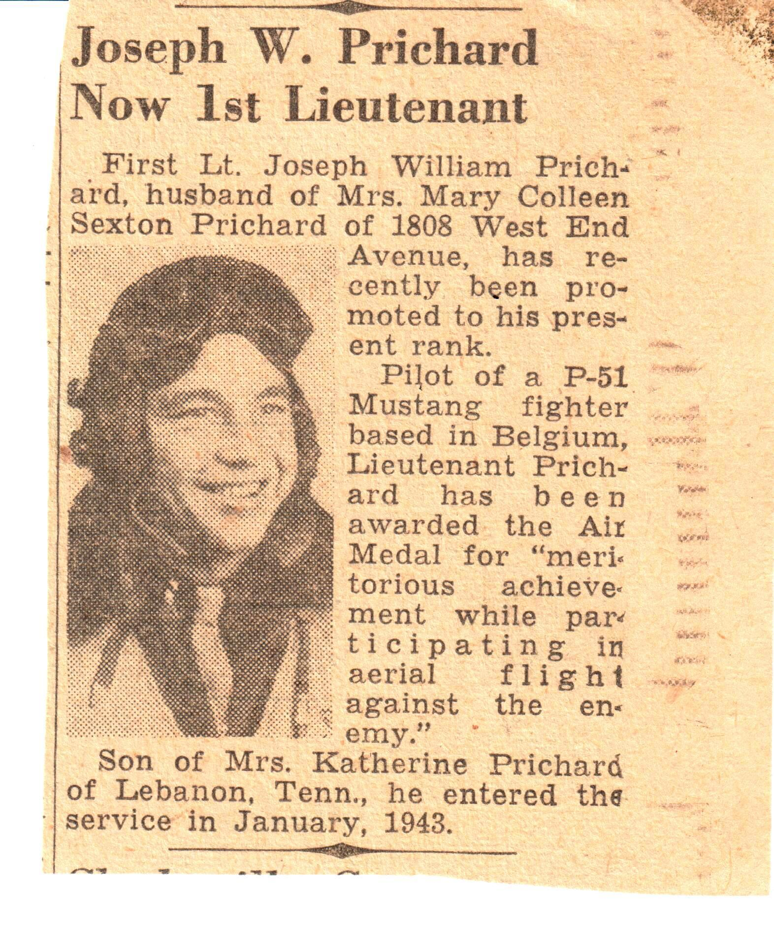Nashville Banner article in 1945 re: First Lieutenant Bill Prichard.