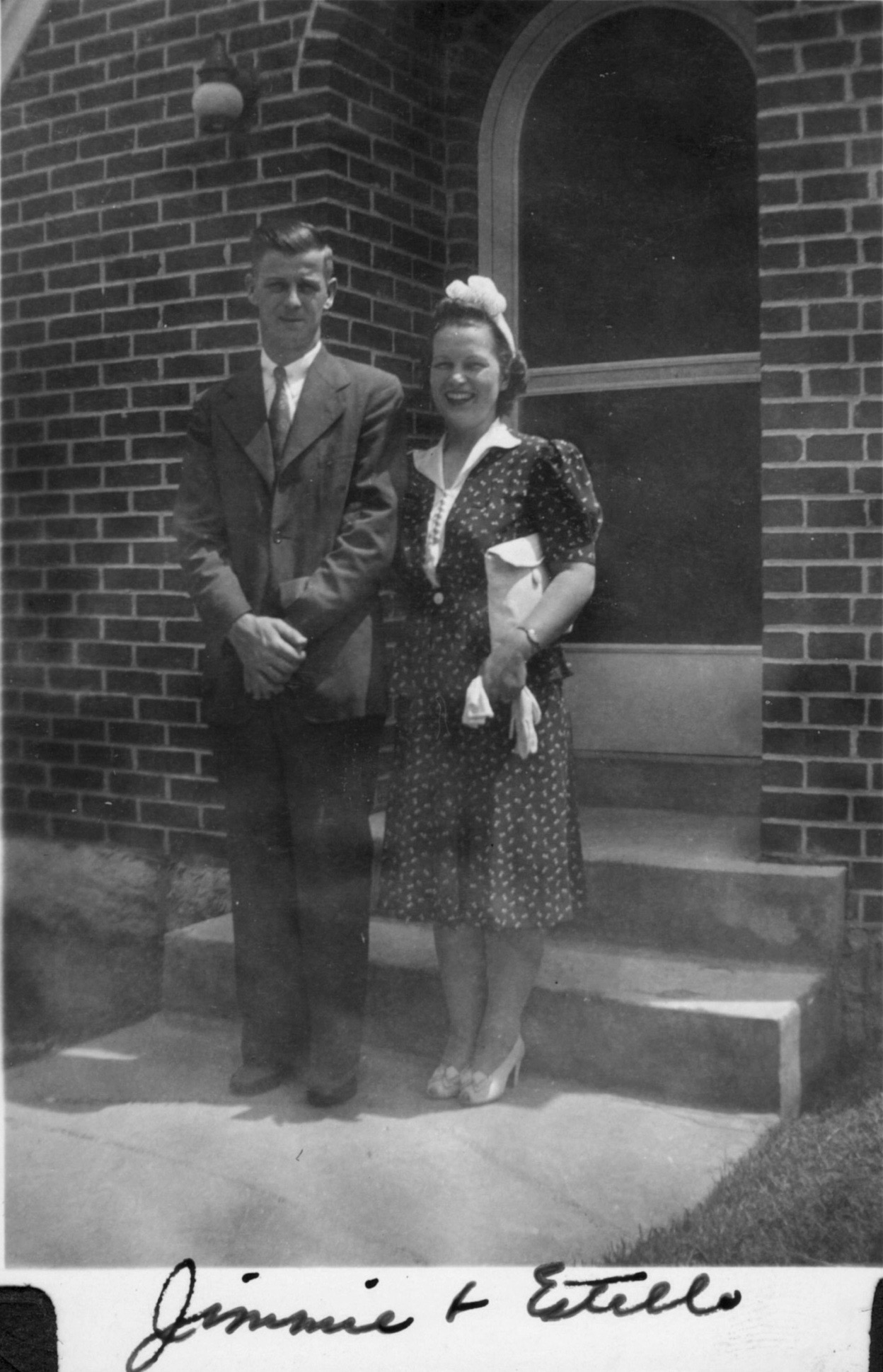 Early 1943, about a year after they bought the house on Castle Heights Avenue. The caption was written by my Aunt Bettye Kate, her sister. This is roughly about the time i was conceived. He would enlist in the Seabees in August.
